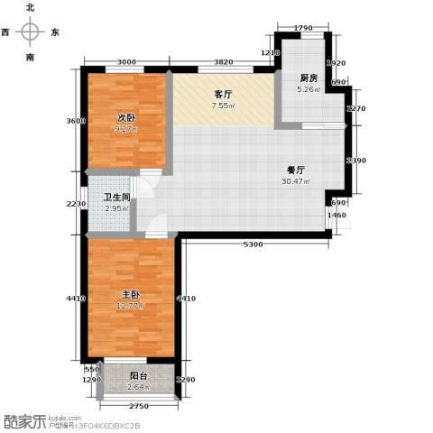 珠峰国际花园三期2室1厅1卫1厨93.00㎡户型图