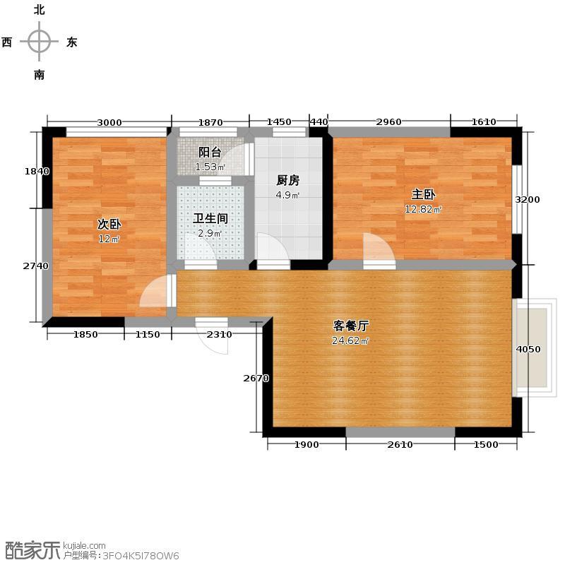 尚房国际公馆72.40㎡2011年3月C1型724赠送71户型2室1厅1卫1厨