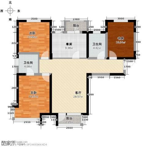 双发金玺城3室2厅1卫0厨124.00㎡户型图