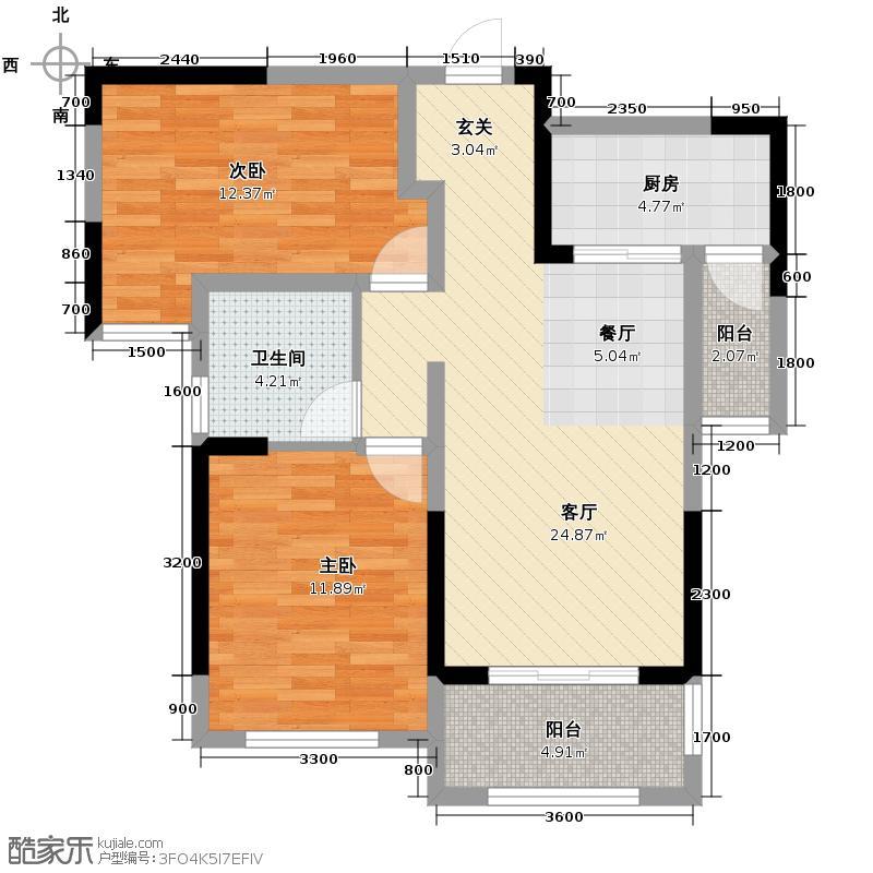 中海国际社区84.63㎡L户型2室2厅1卫