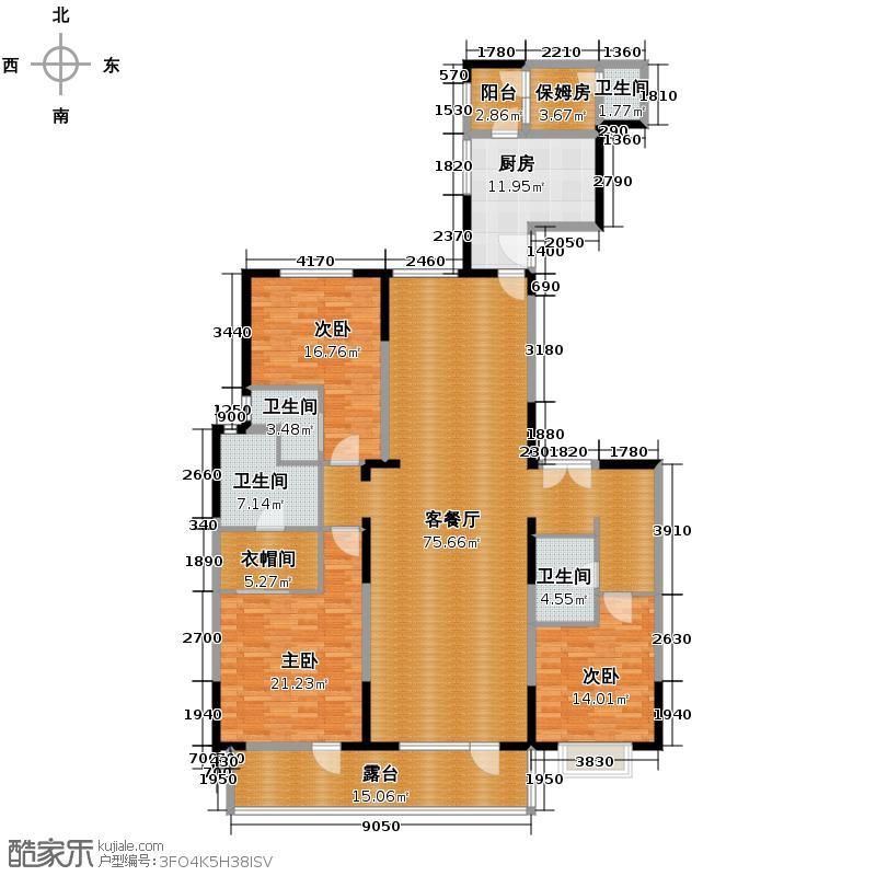 富力十号205.41㎡A1栋一单元02室18层平面图户型10室