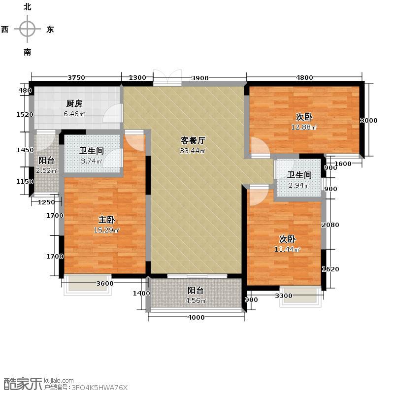 福邸铭门119.86㎡8/9号楼I户型3室1厅2卫1厨