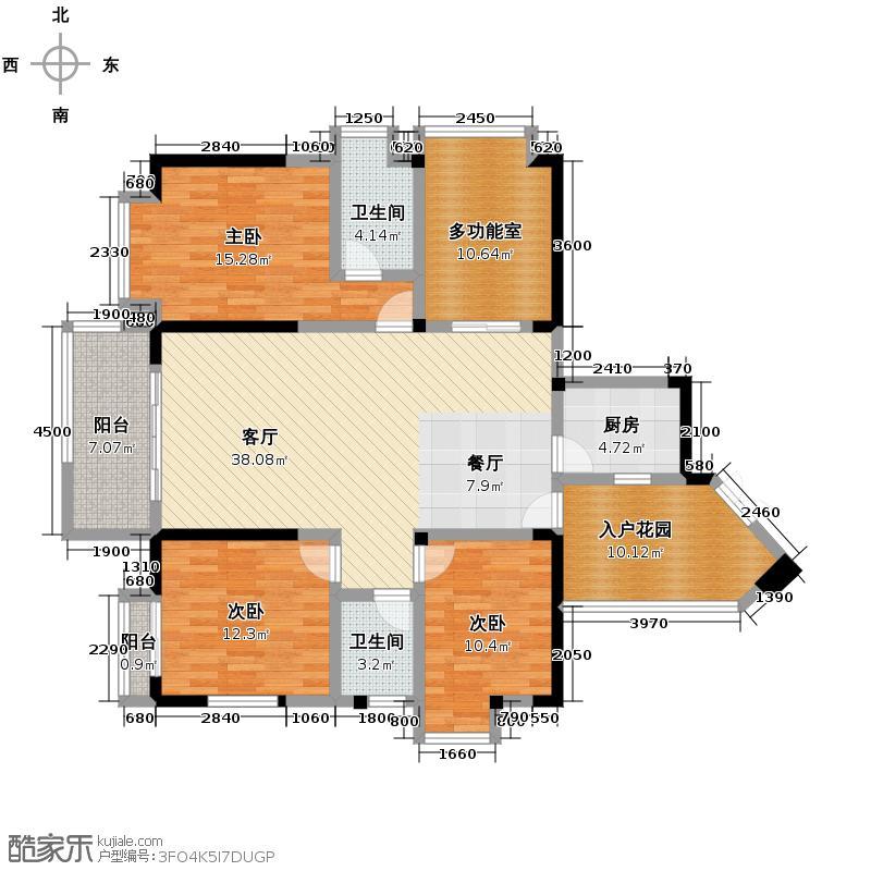 融汇温泉城134.71㎡户型3室1厅2卫1厨