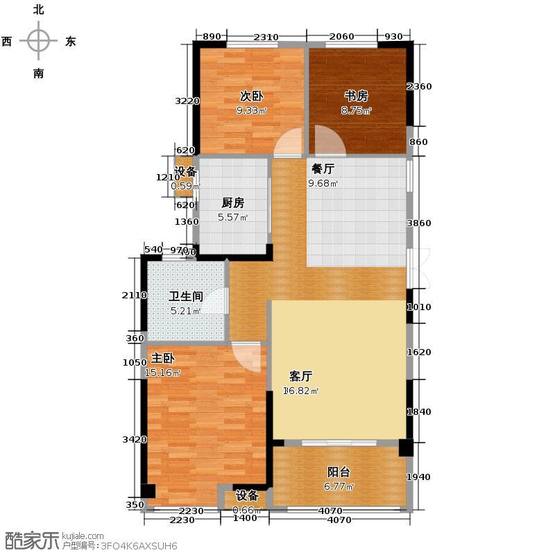 卧龙丽景湾三期114.00㎡1G户型3室2厅1卫