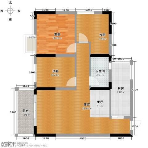 恒鑫名城3室1厅1卫1厨103.00㎡户型图