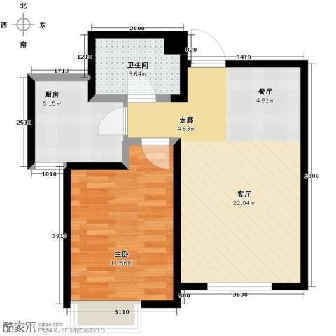 南益名士华庭1室2厅1卫0厨67.00㎡户型图
