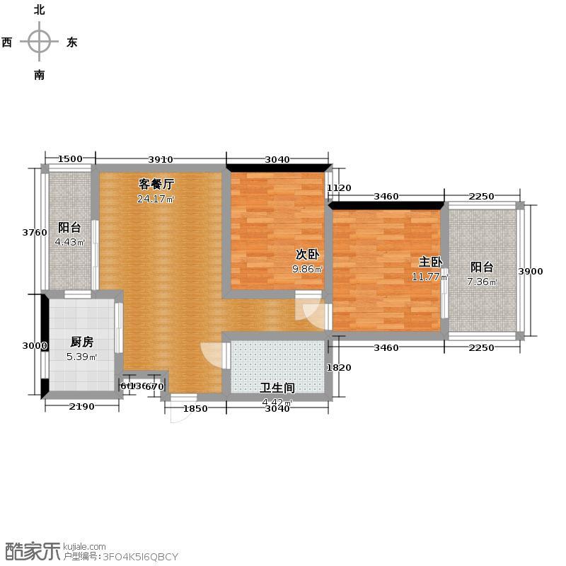 美宸东方86.00㎡三期7-10#奇数层D5户型2室1厅1卫1厨