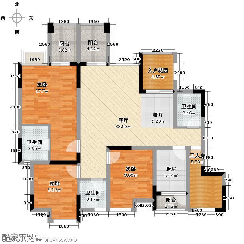 南方玫瑰城133.05㎡黄瑰苑标准层10幢2号、11幢1号、12幢1号房户型3室1厅3卫1厨