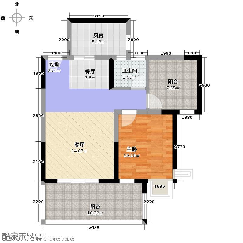 尚东美林75.00㎡三期C3户型1室1卫1厨