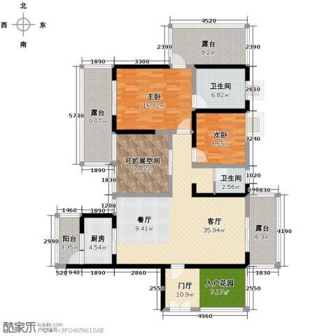 城市春天2室1厅2卫1厨125.00㎡户型图