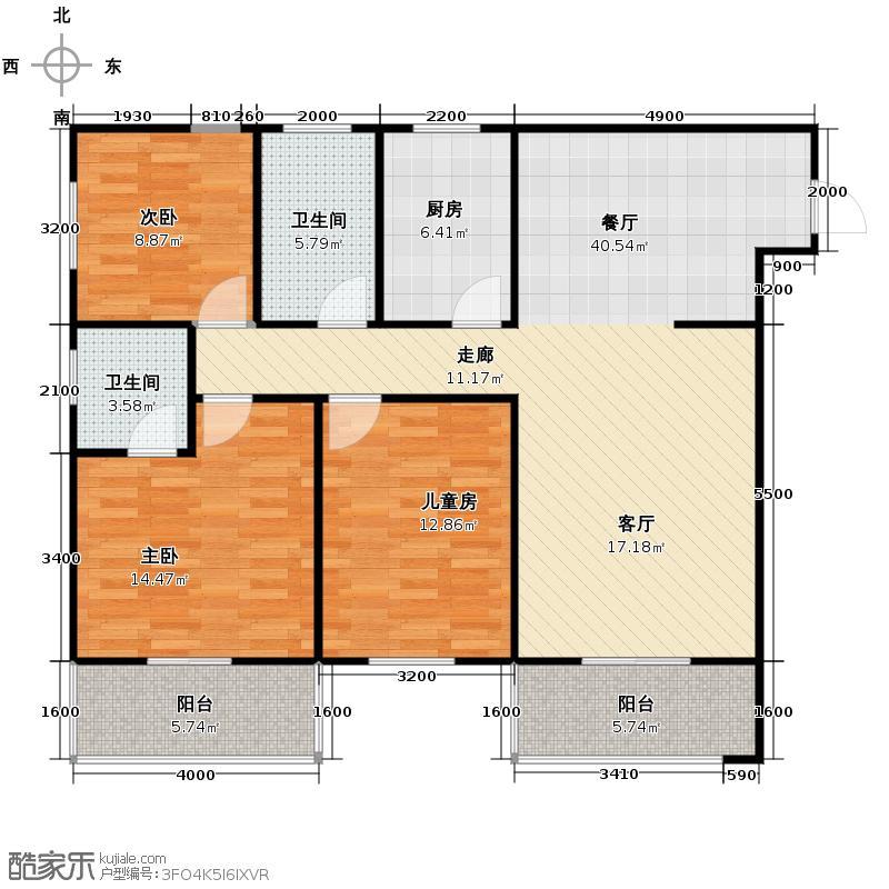 达成馨苑123.89㎡2号楼A户型10室