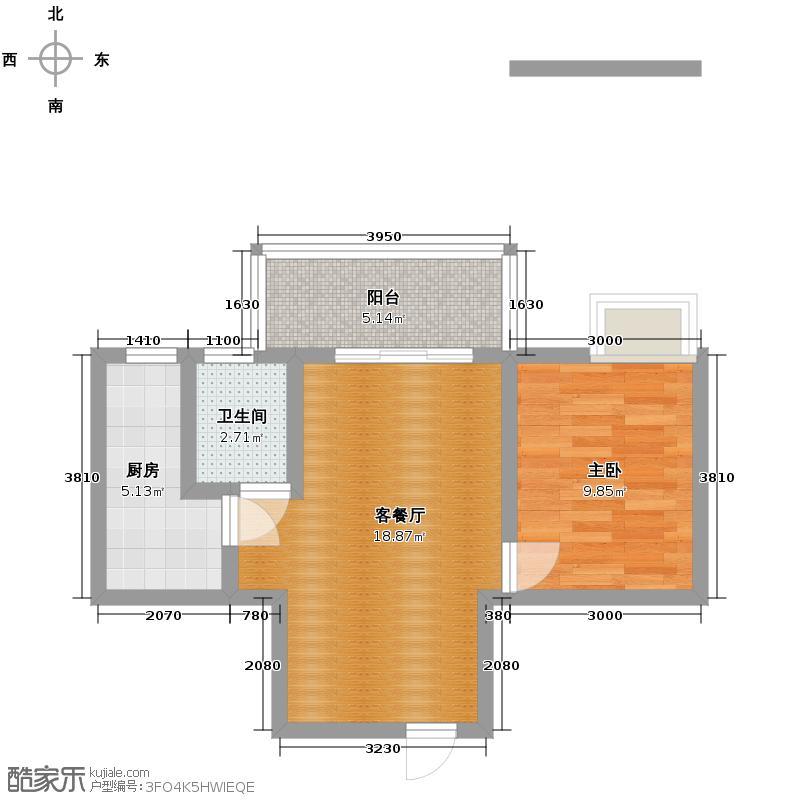 双楠忆景49.17㎡C3面积约为户型1室1厅1卫1厨