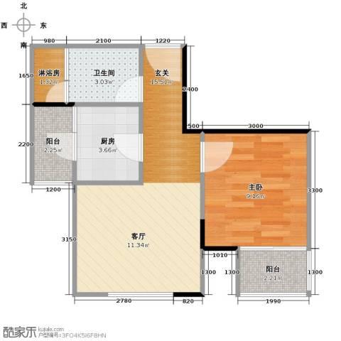 金地中心城1室0厅1卫1厨49.00㎡户型图