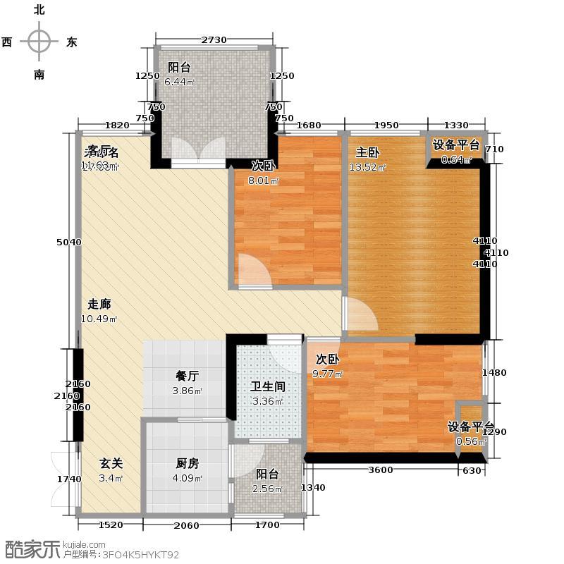 华宇金沙时代73.07㎡12号楼3号房户型3室1卫1厨