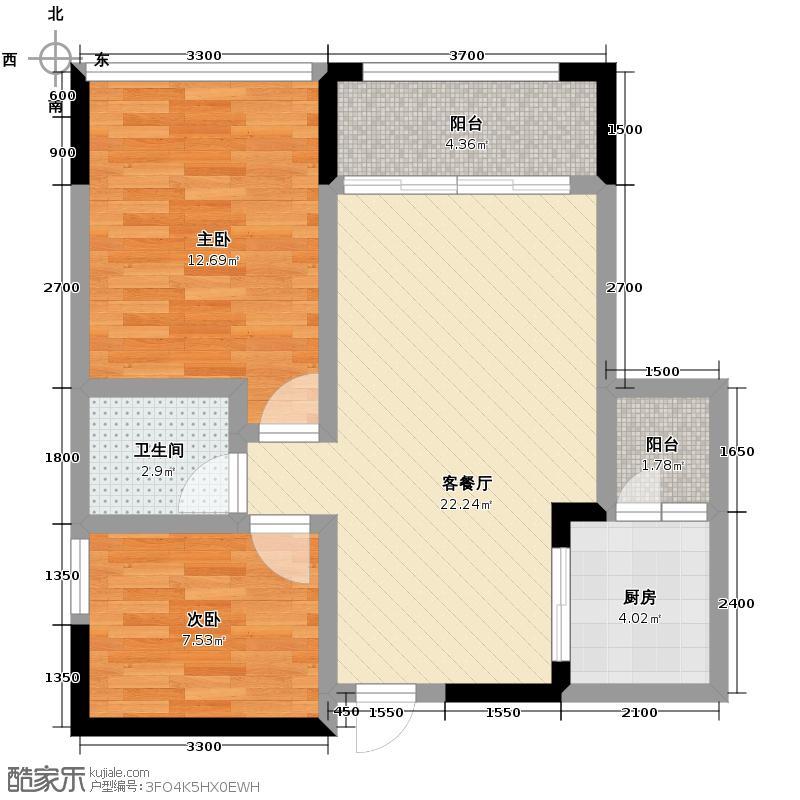 银诚东方国际71.90㎡B3型单卫户型2室2厅1卫