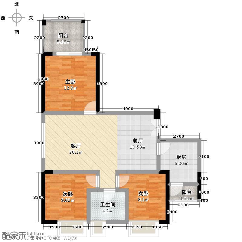 融汇温泉城61.00㎡1号楼1号(跃层)户型3室1厅1卫1厨