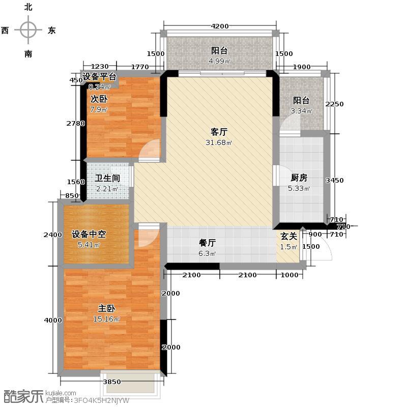 温哥华南苑90.75㎡1-B-4户型2室2厅1卫