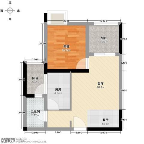 大鼎世纪滨江1室2厅1卫0厨43.00㎡户型图