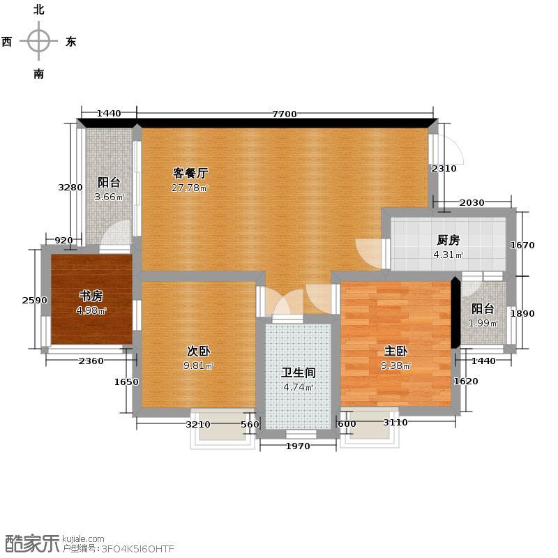 联发嘉园4.00㎡4号楼1可变空间户型3室1厅1卫1厨