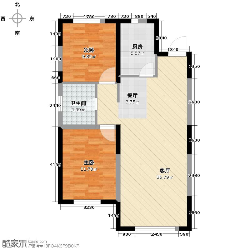 东安加州枫景98.00㎡二期25号楼户型2室2厅1卫