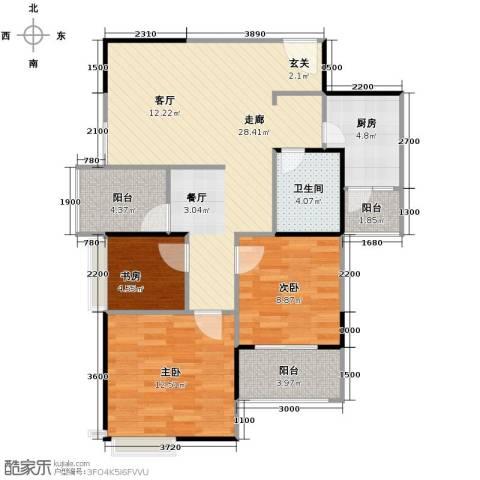 枫韵润园3室0厅1卫1厨93.00㎡户型图