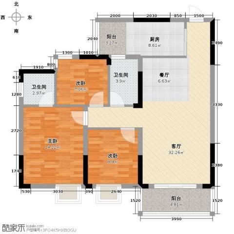恒鑫名城3室1厅2卫1厨117.00㎡户型图