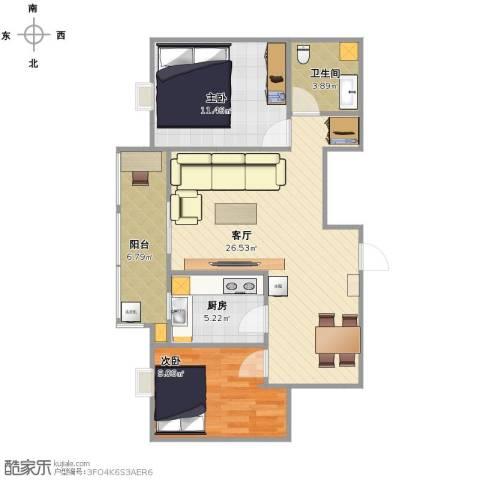 弘和美邻馆2室1厅1卫1厨85.00㎡户型图