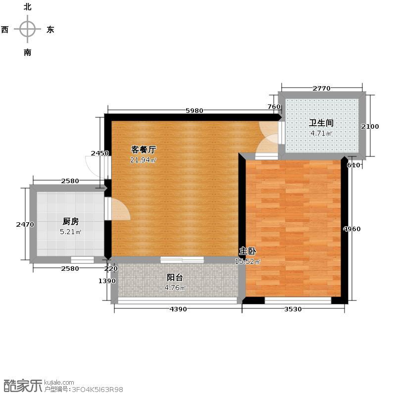锦湖金利花园70.58㎡三期C5户型1室1厅1卫1厨
