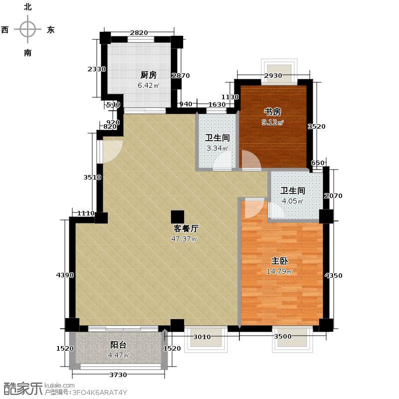 联发滨海琴墅190.00㎡洋房C2跃一层户型2室2厅2卫