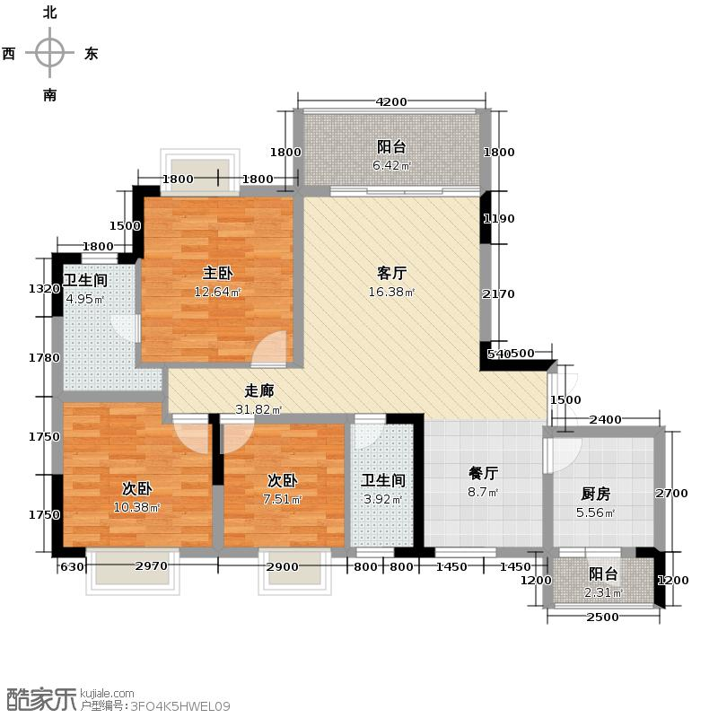斌鑫西城绿锦92.83㎡房型户型10室