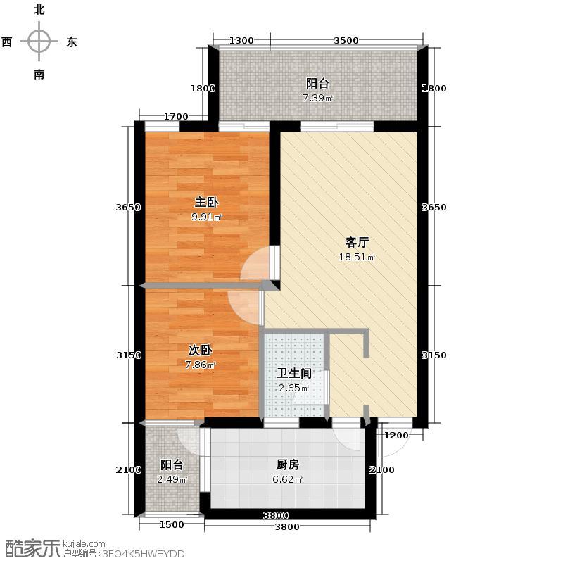 上城国际75.18㎡A1型户型2室1厅1卫1厨