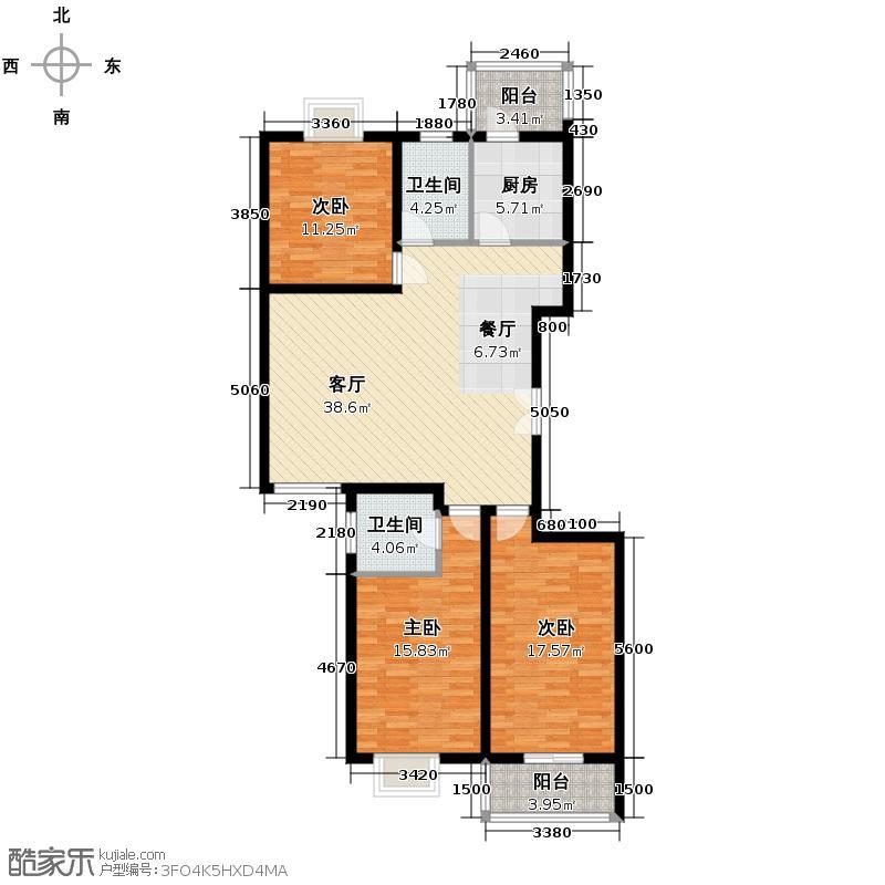 汇鑫花园118.34㎡户型3室1厅2卫1厨