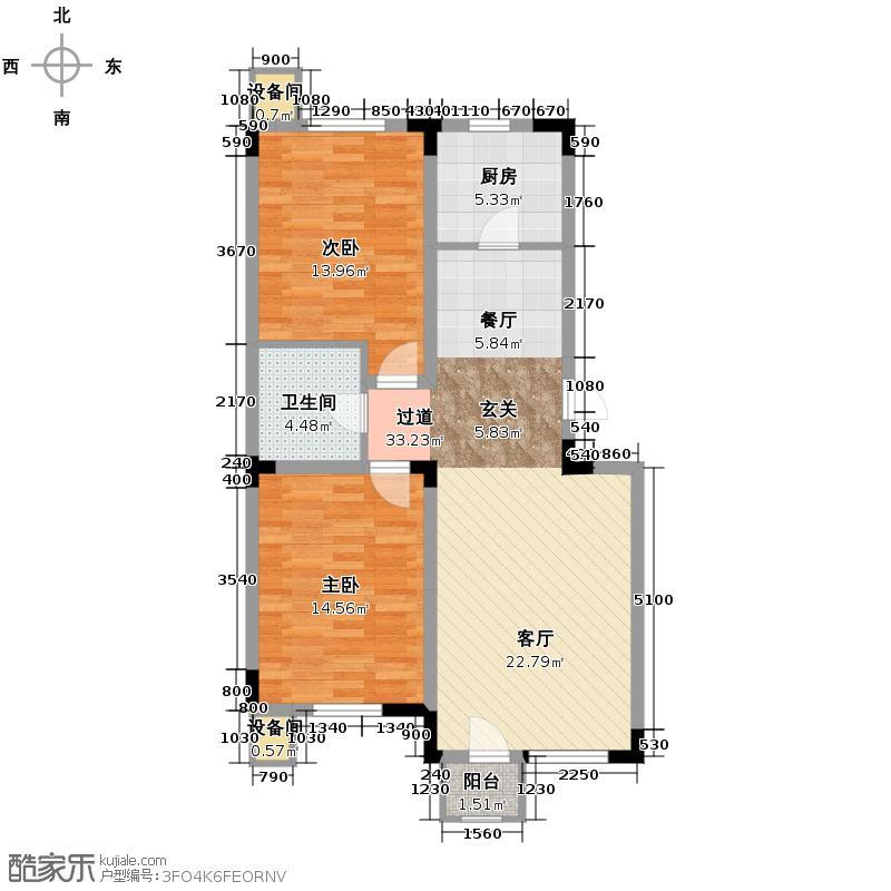 绿地新里中央公馆87.00㎡10栋02户型2室1卫1厨
