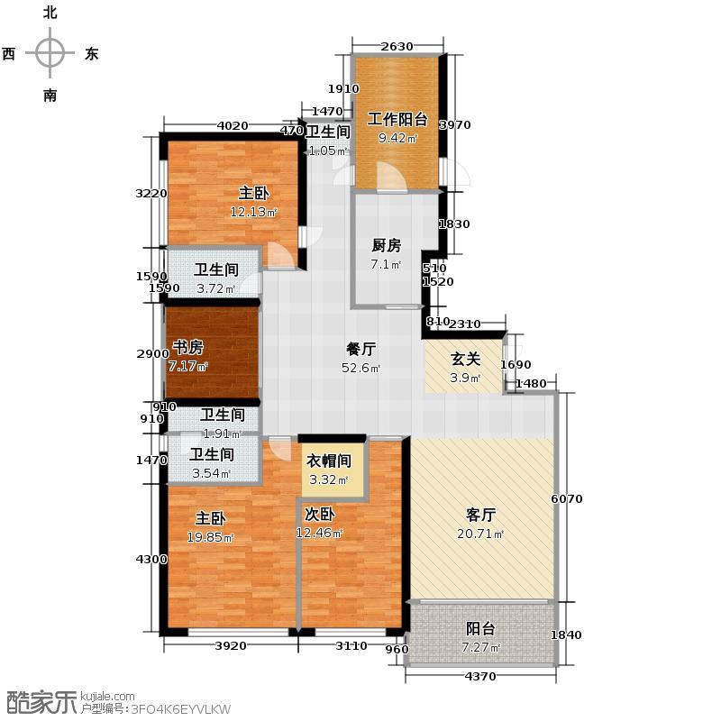 天汇广场211.90㎡A3栋02单元户型4室2厅3卫