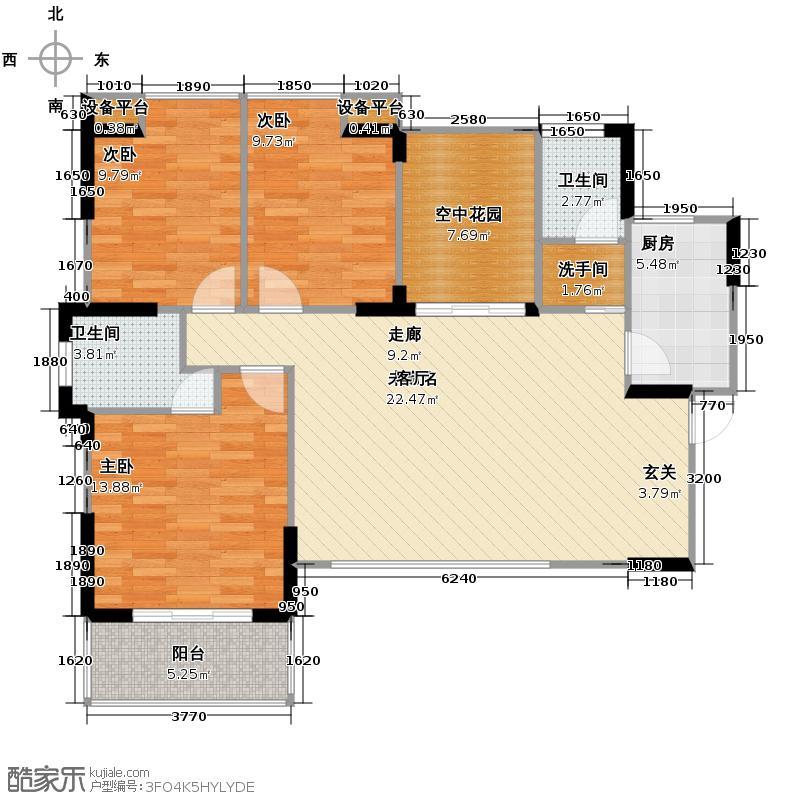 新里程潇湘名城129.82㎡3栋0102户型3室2厅2卫