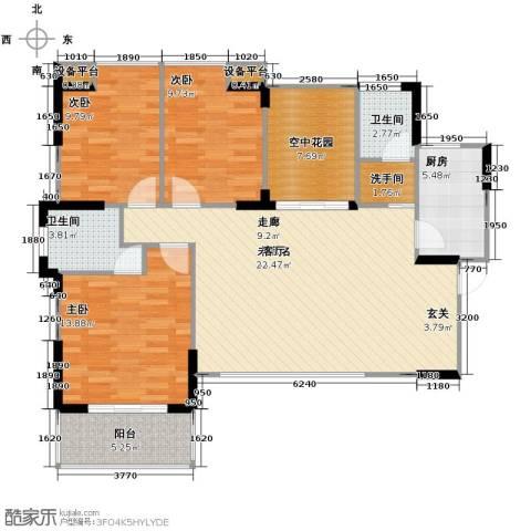 新里程潇湘名城3室2厅2卫0厨130.00㎡户型图