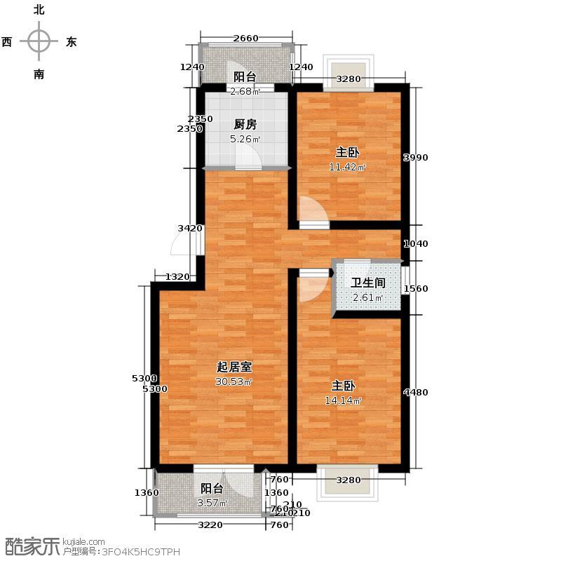 丽江花园89.00㎡E户型2室2厅1卫