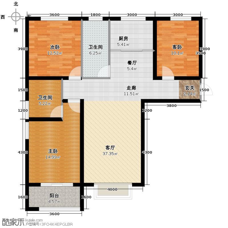 海龙湾138.17㎡H户型3室1厅2卫1厨