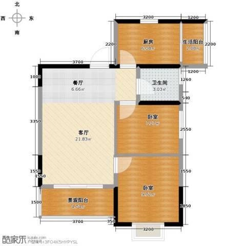 恒鑫名城二期1厅1卫1厨77.00㎡户型图