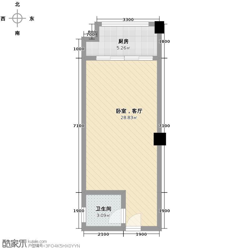 大鼎第一时间42.64㎡3号楼第3、4层3、7、7、9、13号房户型1卫1厨