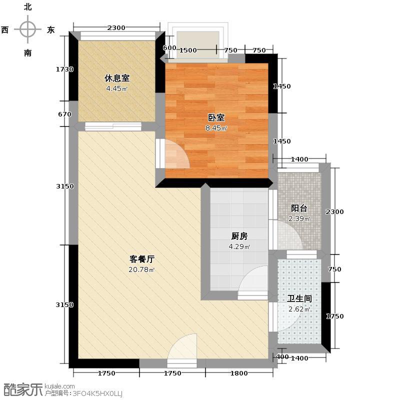 大鼎第一时间51.03㎡B区2号楼1、4号房户型1厅1卫1厨