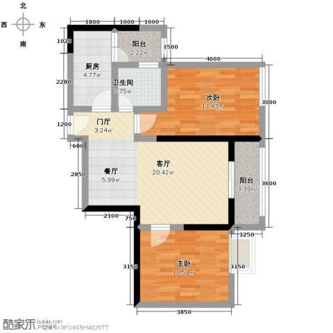 大鼎第一时间2室1厅1卫1厨82.00㎡户型图