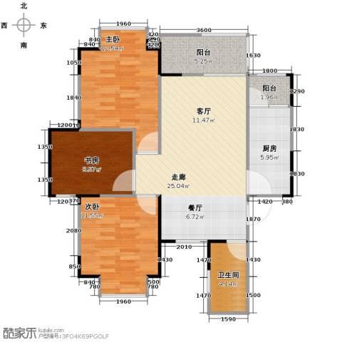 中建康城3室0厅1卫1厨91.00㎡户型图