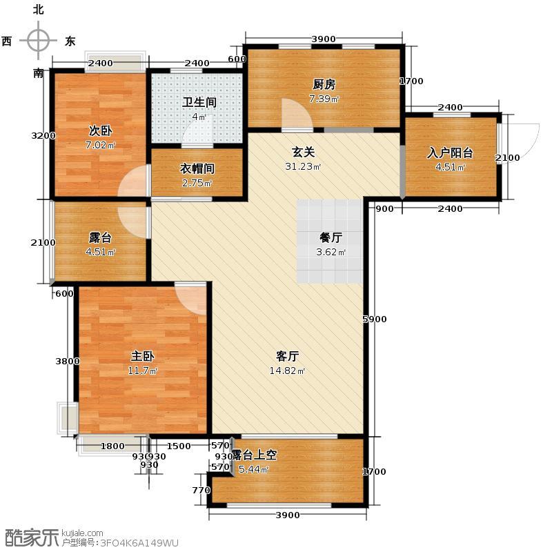 世茂生态城93.00㎡高层A户型2室2厅1卫