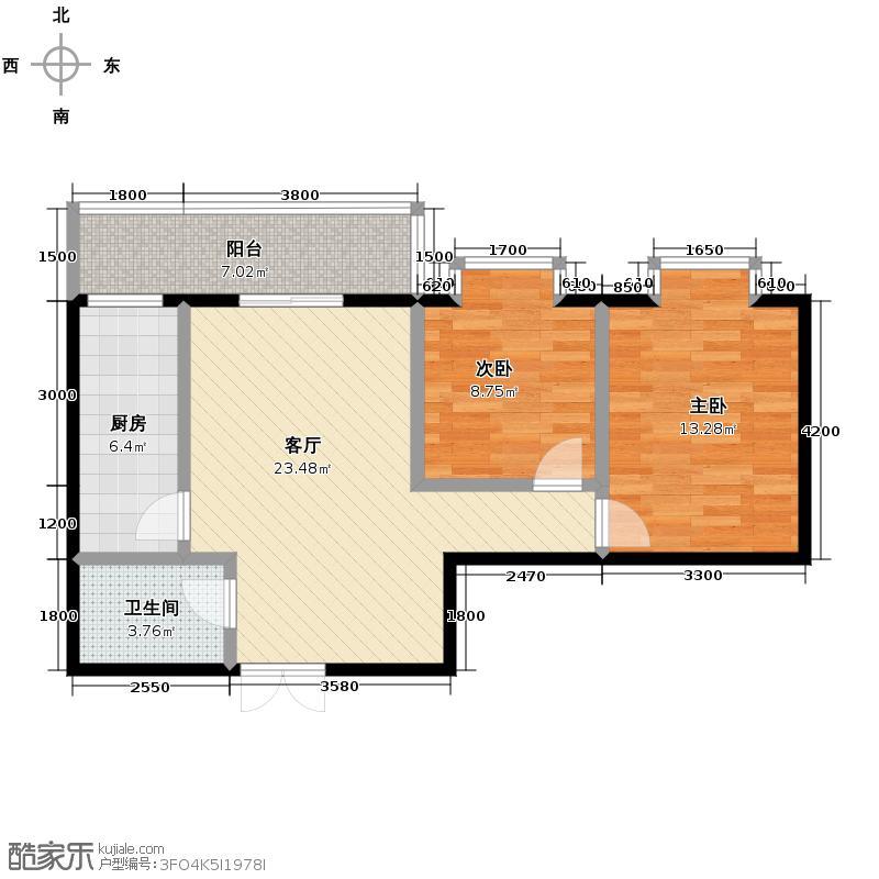 领域豪城82.02㎡A6户型2室1厅1卫1厨