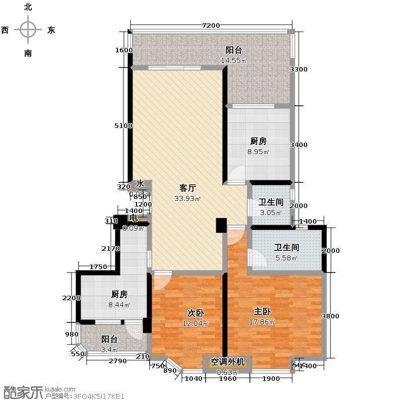 蜀都新城123.76㎡B1双卫户型2室1厅2卫2厨