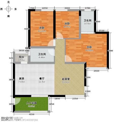 长江楚韵3室3厅2卫0厨110.00㎡户型图
