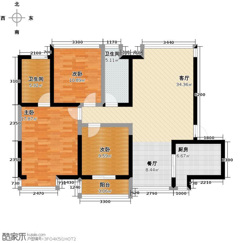 曲江紫汀苑128.00㎡2号楼A户型10室