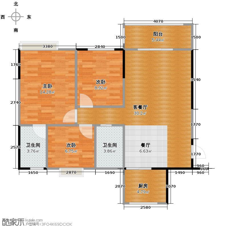 利泰花林湖畔95.14㎡阳光组团3号楼1/3梯4号楼2梯首层01户型3室2厅2卫