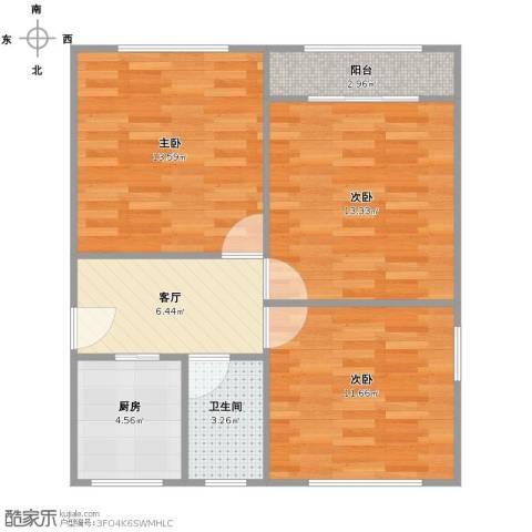 六里二村3室1厅1卫1厨76.00㎡户型图